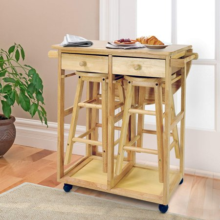 UBesGoo Wood Kitchen Cart Island Storage Fold Table Drop Leaf 2 Drawers  With 2 Stools