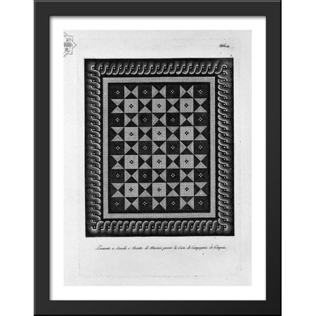 Meander to the floor in mosaic found in the country house 28x36 Large Black Wood Framed Print Art by Giovanni Battista Piranesi (Wood Mosaic)