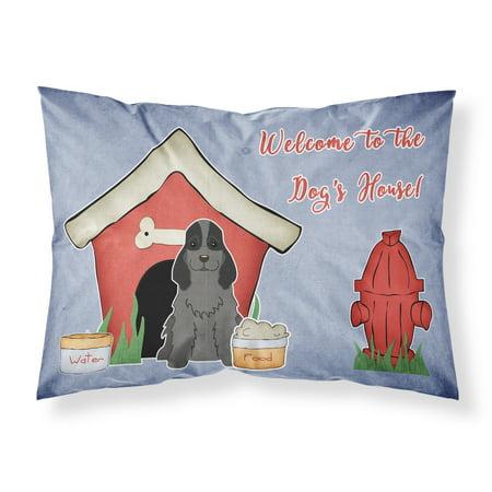 Dog House Collection Cocker Spaniel Black Fabric Standard Pillowcase BB2846PILLOWCASE