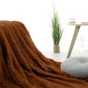 "Extra Warm Shaggy Faux Fur Plush Decorative Throw Blanket 51"" x 59"" (Brown)"