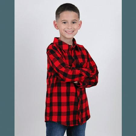Boxercraft YF51RBUFF Red Black Buffalo Boys Flannel Shirt