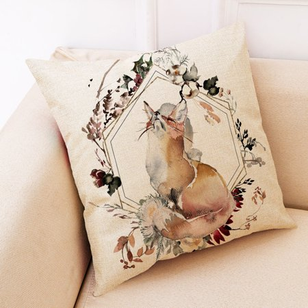 45x45cm Pillow Case Cotton Linen Car Sofa Bed Waist Throw Cushion Cover Home Decoration