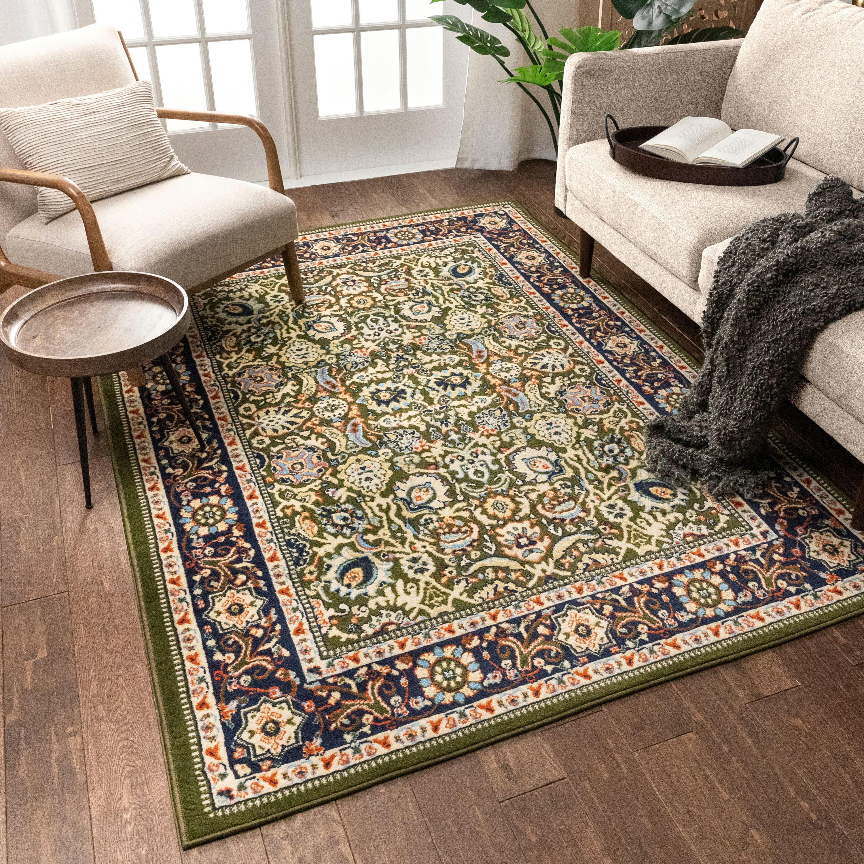 Well Woven Darya Green Modern Sarouk Area Rug Updated Traditional Persian Style 5x7 5 3 X 7 3 Walmart Com Walmart Com