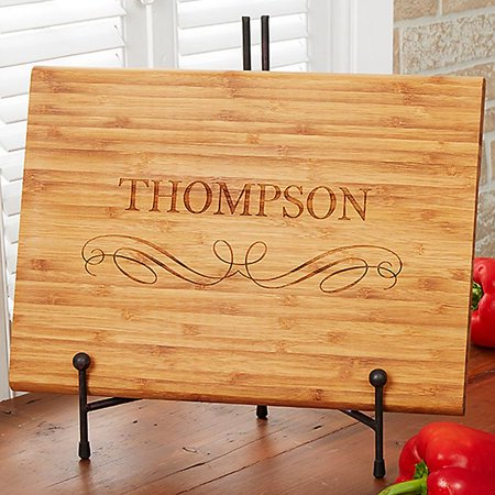 Classic Family 10-Inch x 14-Inch Personalized Bamboo Cutting Board
