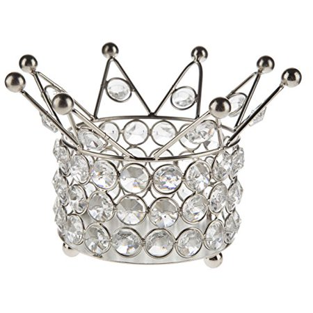 Silver Crown Shape with Clear Crystals Home Decor or Party Centerpiece Cake Topper or Gift (Clown Centerpieces)