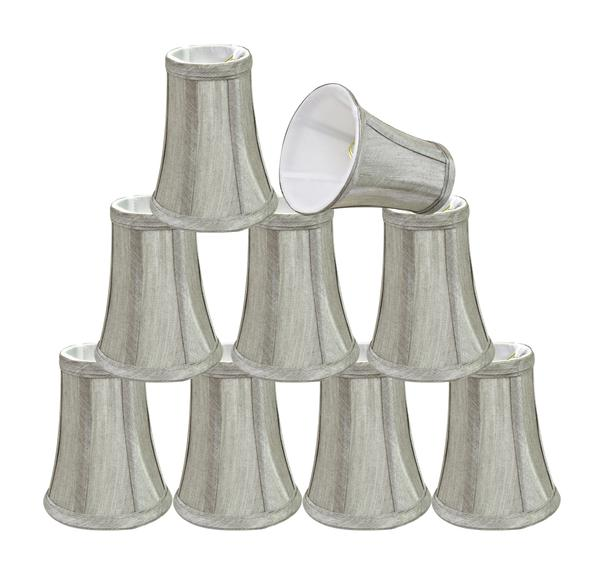 Aspen Creative 30246-2 Small Bell Shape Chandelier Clip-On Lampshade Set (2 Pack), Transitional Design in Silver Grey,... by Aspen Creative Corporation