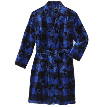 Joe Boxer Boys Plush Blue Plaid Skull Bath Robe Fleece House Coat (Boxer In Robe)