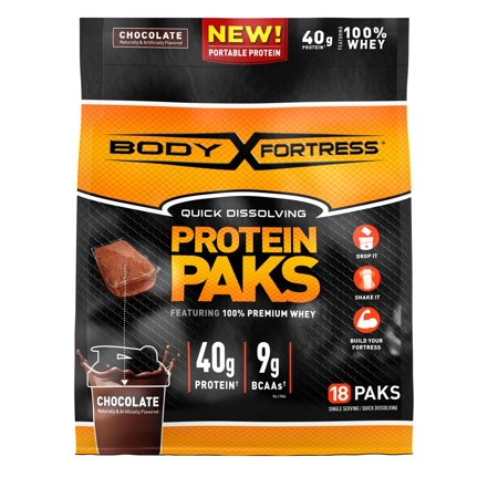 Body Fortress Protein Paks, Chocolate, 40g protein, 18 packs