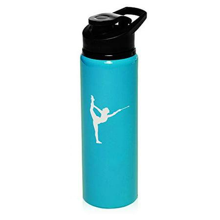 MIP Brand 25 oz Aluminum Sports Water Travel Bottle Female Gymnast Twirling Baton Gymnastics (Light-Blue) ()