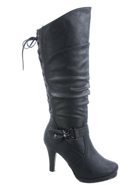 3a78b2249fe Product Image Page-65 Women s Back Lace Up Round Toe High Heel Platform Mid-Calf  Knee