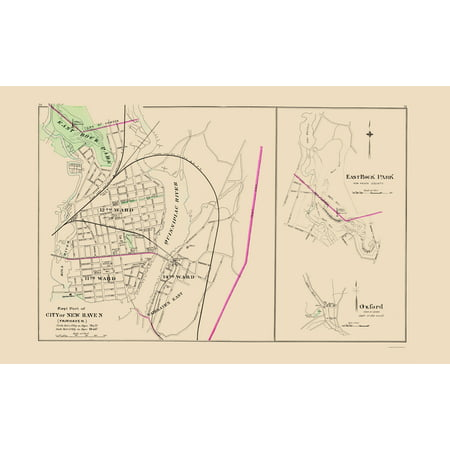 Old City Map   East New Haven Connecticut   Hurd 1893   23 X 37 16