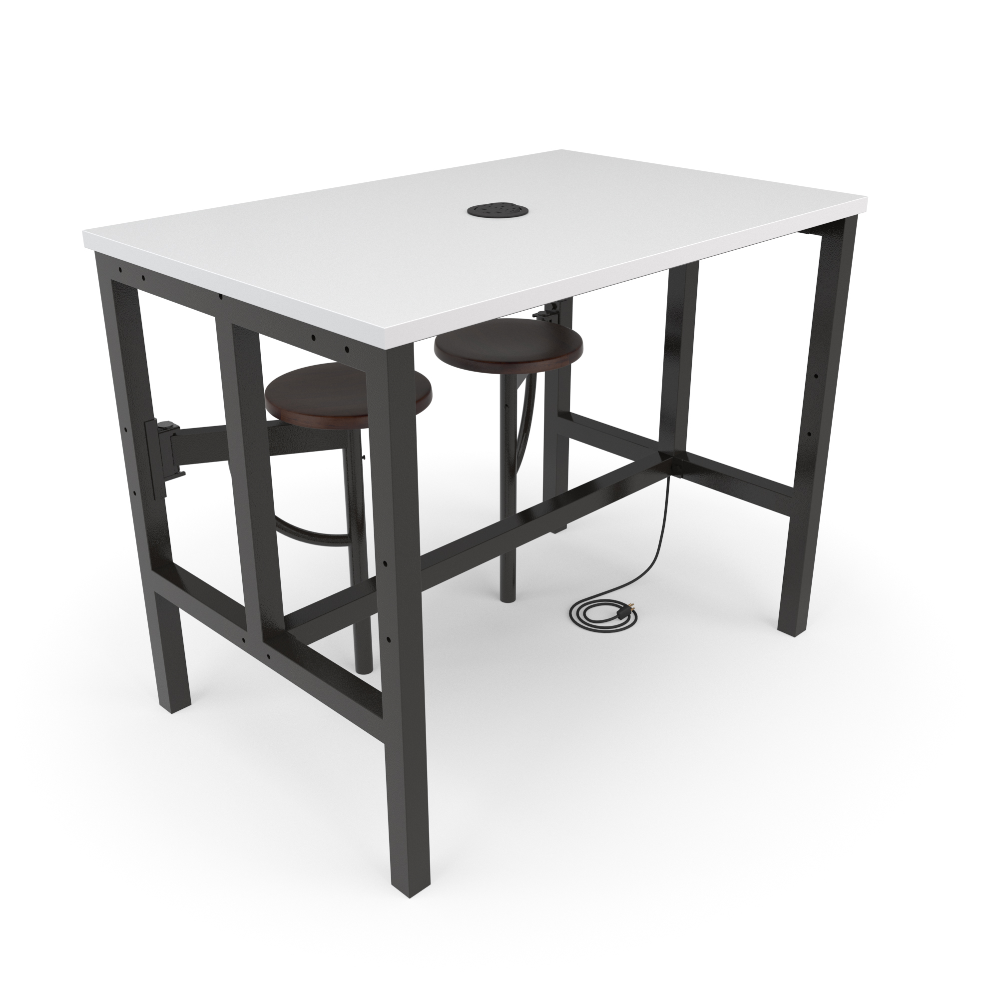 OFM Endure Series Model 9004-2S Standing Height 2 Seat Table, White Dry-Erase Top with Dark Vein Seats