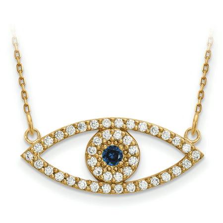 14k Yellow Gold Medium Chain Necklace Diamond Sapphire Evil Eye Pendant Charm Contemporary Fine Jewelry For Women Gift Set
