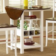 Ridgewood Black Round Dining Table with Built-In Wine Rack