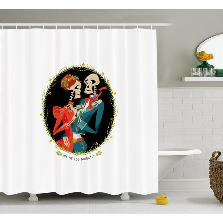 Day Of The Dead Shower Curtain Skeleton Couple In Love Oval Frame With Green Leaves