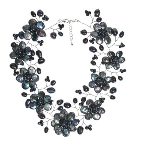 Aeravida Sterling Silver 'Lace Sakura' Black Pearl Flower Necklace (Thailand)