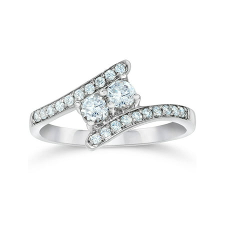 (1/2Ct Forever Us Genuine Diamond Two Stone Ring White Gold Engagement Solitaire)