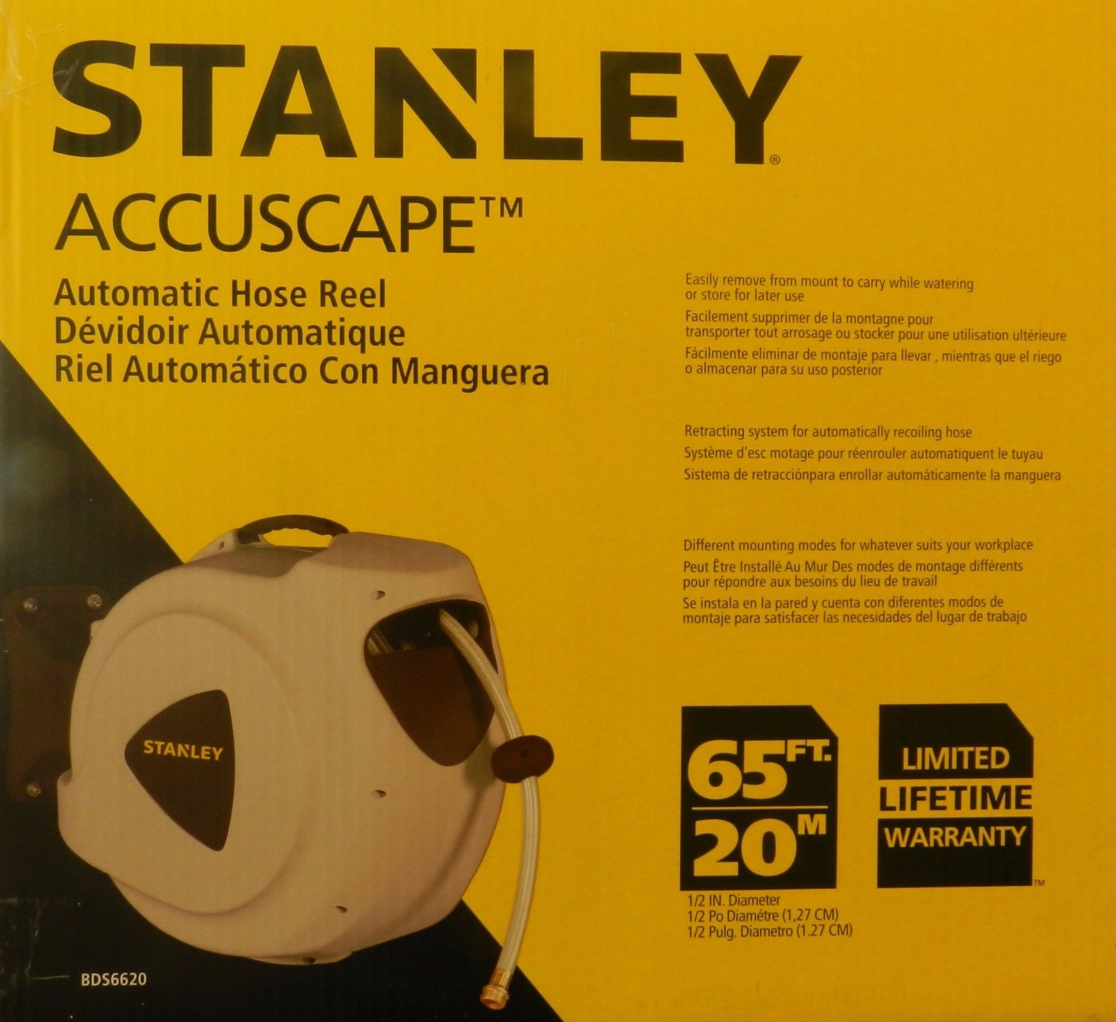 Stanley 65ft  20m Automatic Retractable Hose Reel by