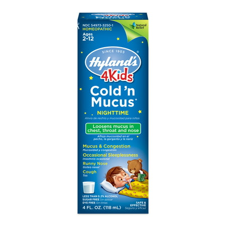 Hyland's 4 Kids Cold 'n Mucus Nighttime Relief Liquid, Natural Relief of Chest Congestion, Sleeplessness, Runny Nose, Sore Throat, Sneezing, Cough, 4