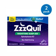 (2 Pack) ZzzQuil Nighttime Sleep Aid LiquiCaps by Vicks, 48 ct