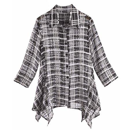Women's Tunic Top - Black and White Checkered Print Button ...