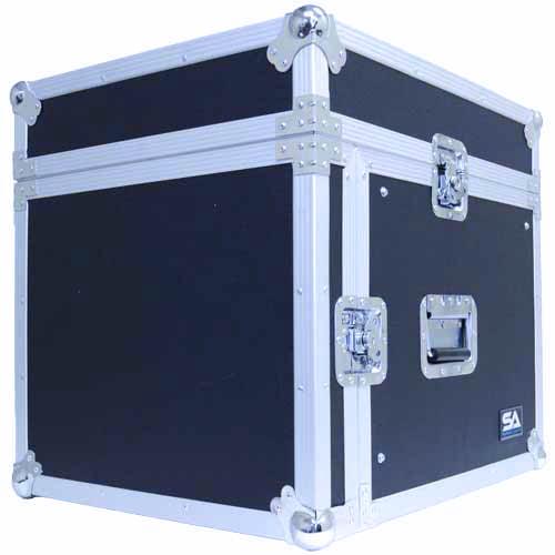 Seismic Audio 8 Space Rack Case with Slant Mixer Top - Amp Effect PA/DJ Pro Audio Road Case Black - SAMRC-8U