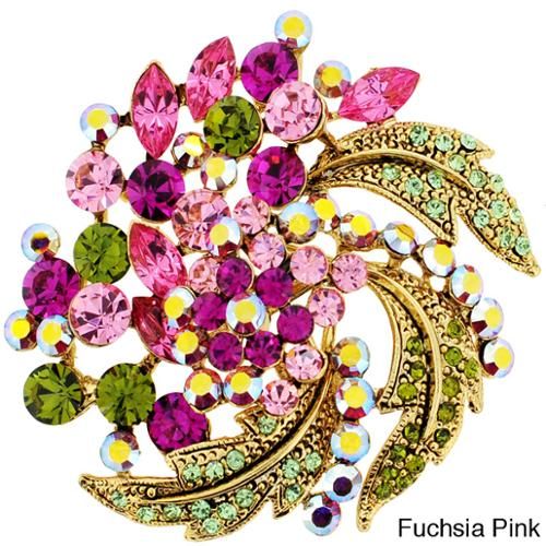 Goldtone Multi-colored Crystal Flower Brooch Fuchsia Pink Flower