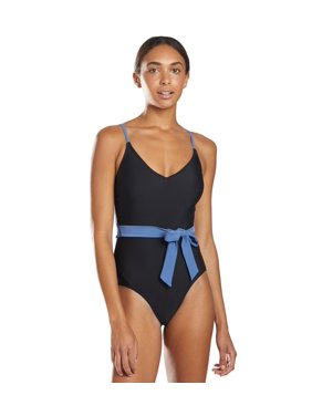 ClubSwim Noelle Wrap One Piece Swimsuit - Black Polka Dot/Black - Large
