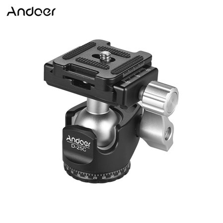 Andoer D-25C CNC Machining Aluminum Alloy Double Notch Ball Head Mini Ballhead Low Center of Gravity for Manfrotto etc Tripod Monopod for Canon Nikon Sony DSLR ILDC Cameras Max Load Capacity 10kg