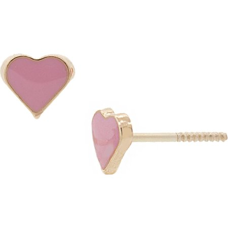 14K Solid Gold Heart Pink Enamel Stud Earrings