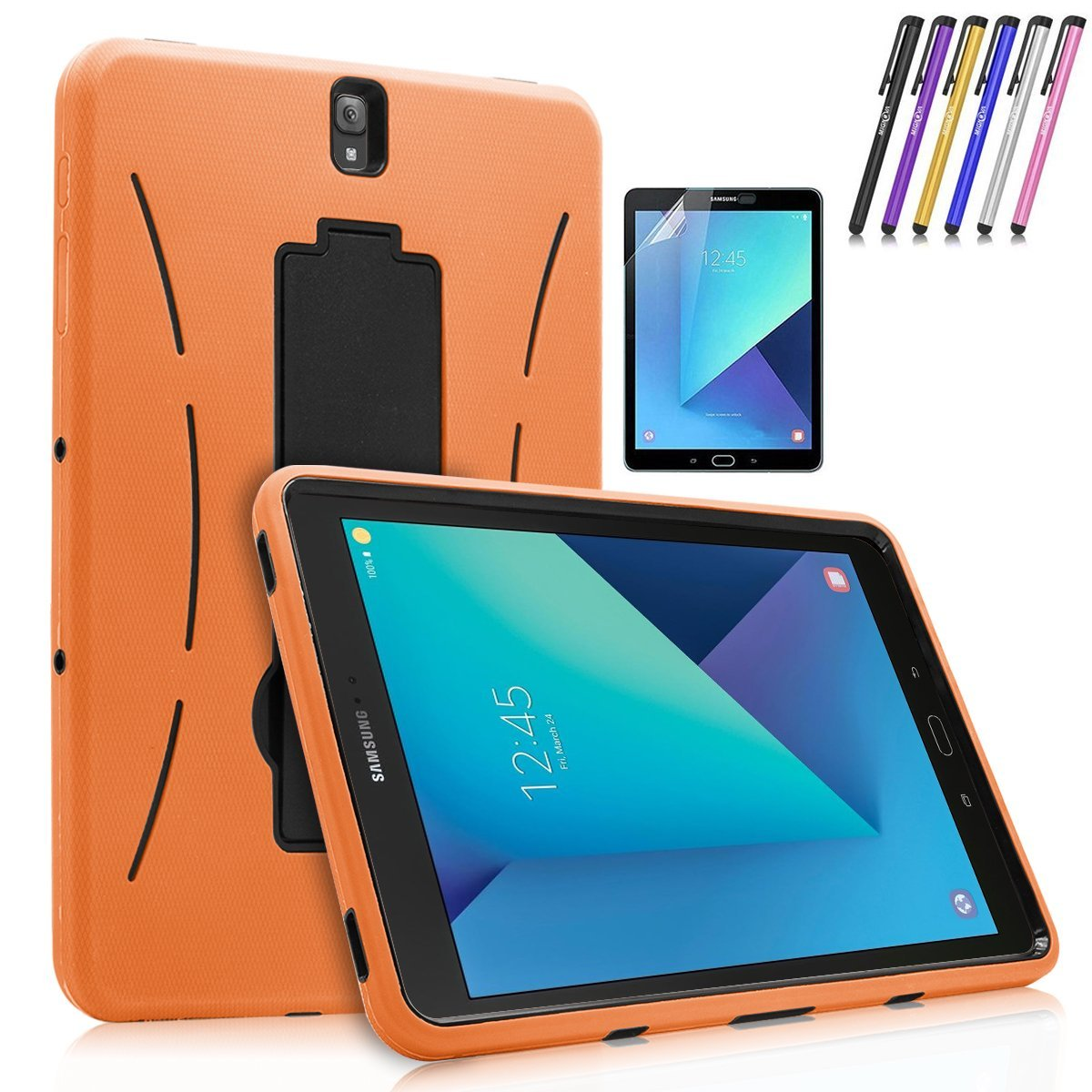 Galaxy Tab S3 9.7 Case, Mignova Heavy Duty Dual Layer Defender Protective Tablet Case Cover with Kickstand for Samsung Galaxy Tab S3 9.7 inch (2017) + Screen Protector Film and Stylus Pen (Black)