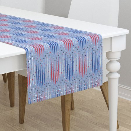 Table Runner July 4 Independence Patriotic Red White And Blue Cotton Sateen - Patriotic Table Runner