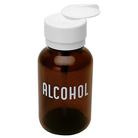 MENDA 35608 Glass/Polypropylene/Steel/Low-Density Polyethylene/Ldpe Dispensing Bottle, Lasting-Touch, Imprinted 'Alcohol', Amber Round Glass 8 oz., 8 fl. oz. (Imprinted Glassware)