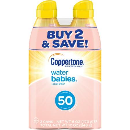 Coppertone WaterBABIES Sunscreen Spray SPF 50, Twin Pack (6 oz