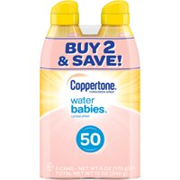 Coppertone WaterBABIES Sunscreen Spray SPF 50, Twin Pack (6 oz each)