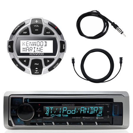 "Kenwood Marine Motorsports Boat Yacht In-Dash Single DIN CD Bluetooth UBS AUX Receiver, Kenwood Digital LCD Display Wired Remote, 40"" Enrock AM/FM Antenna, 7 Meter - 22 Ft Extension Cable"