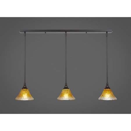 Toltec Lighting 36-DG-770 3 Light Multi Light Mini Pendant With Hang Straight Swivels Shown In Dark Granite With 7 Inch Gold Champagne Crystal (Hang Pendant Lighting)