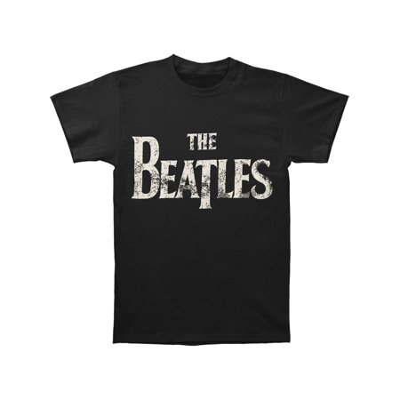 Beatles Men's  Distressed Logo T-shirt Black ()
