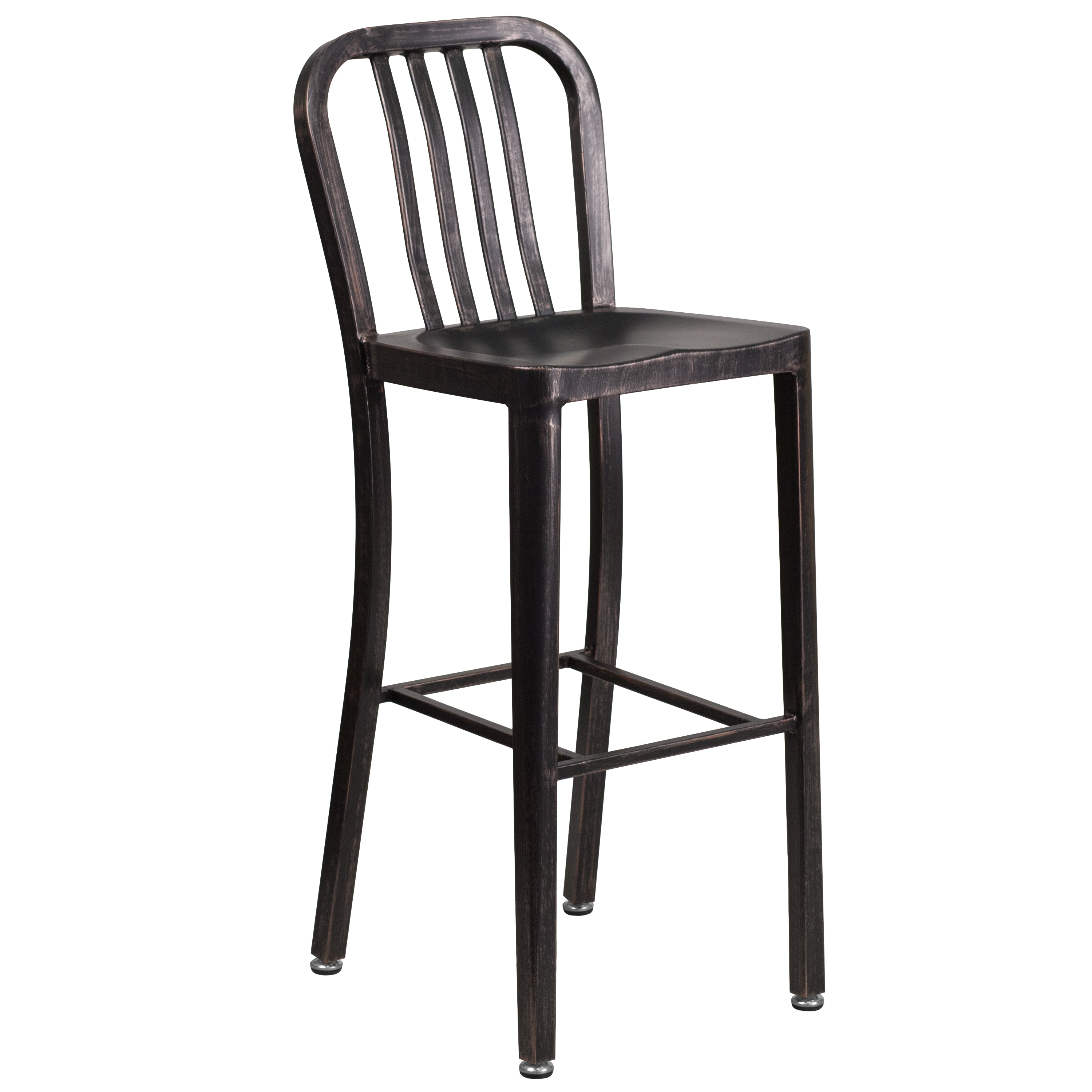 Lancaster Home 30'' High Metal Indoor-Outdoor Barstool with Vertical Slat Back