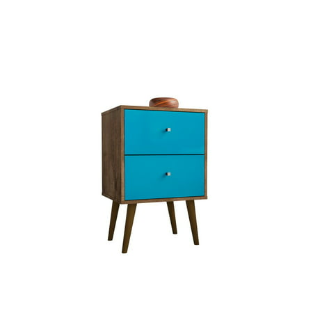 Liberty Mid-Century - Modern Nightstand 2.0 with 2 Full Extension Drawers in Rustic Brown and Aqua Blue ()