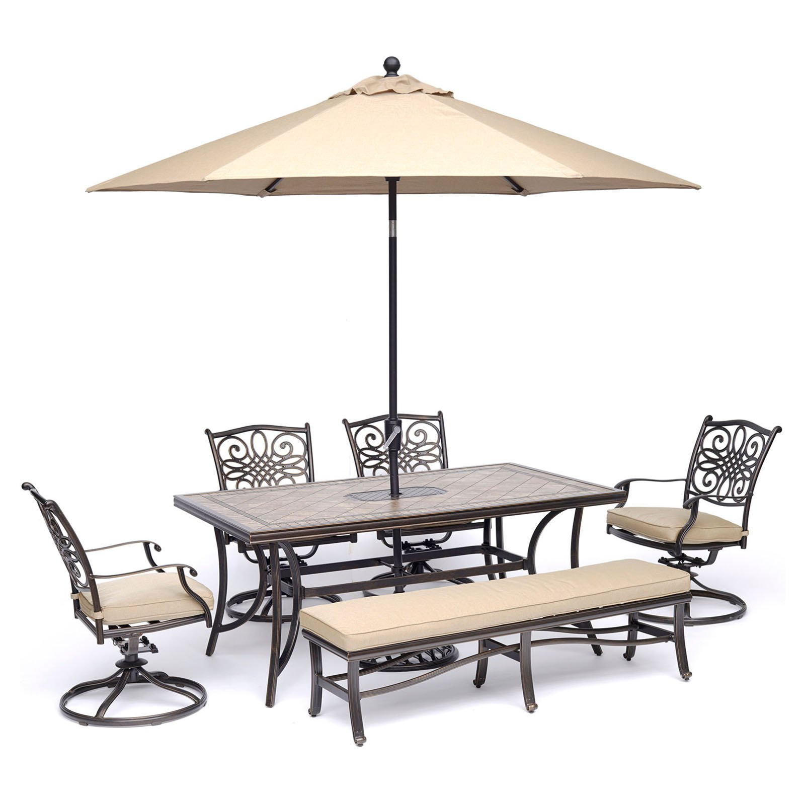 """Hanover Monaco 6-Piece Dining Set in Tan with Four Swivel Rockers, a Cushioned Bench, and a 40"""" x 68"""" Tile-Top Table"""
