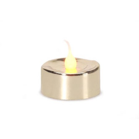 3 LED Lighted Battery Operated Flicker Flame Gold Christmas Tea Light Candles