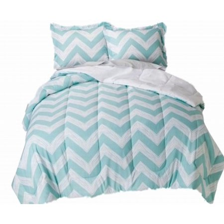 Blue White Chevron Full Bed In Bag Zig Zag Comforter Set Sheets Shams 8 Pc