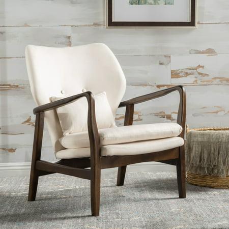 Schiffer Wood and Fabric Club Chair, Dark Espresso/ Beige - image 3 de 5