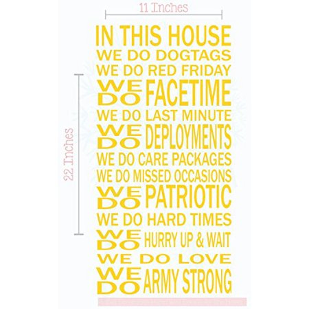 - in This House We Do Dog Tags Army Strong Vinyl Decals Wall Stickers Quote 11x22-Inch Yellow