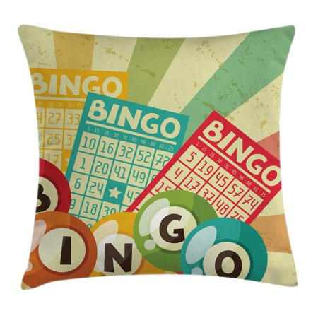 Vintage Decor Throw Pillow Cushion Cover, Bingo Game with Ball and Cards Pop Art Stylized Lottery Hobby Celebration Theme, Decorative Square Accent Pillow Case, 20 X 20 Inches, Multi, by Ambesonne ()