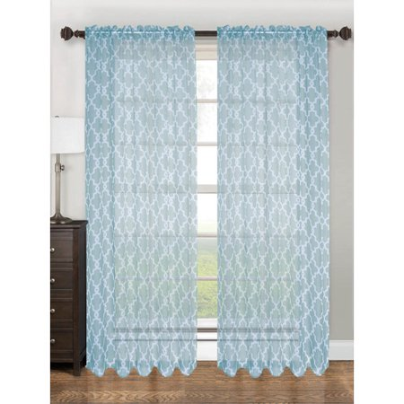 Kashi Home Cp042438 Lucy Sheer Curtain Panel Turquoise