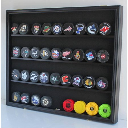 Large 35 Hockey Puck Display Case Wall Cabinet Shadow Box, UV Protection door, (Black Finish) (Large China Cabinet)