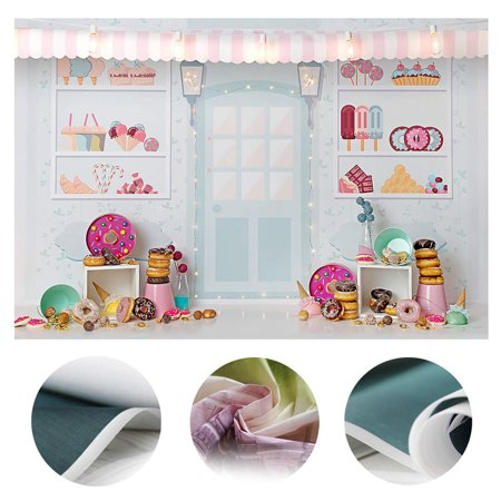 Girl Themed Party (Dessert Shop Theme Backdrop Donut Decoration Ice Cream Girl Birthday Party Background Vinyl Backdrops Studio Photography Props Birthday)