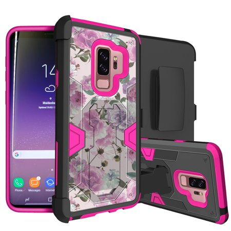Samsung Galaxy S9 Plus Rugged Defense Case by MINITURTLE [PINK MAX DEFENSE Case for Galaxy S9 Plus] Hybrid Silicone Case w/ Bonus Holster Belt-Clip & Built-in Kickstand Function - Pink Flowers](Mini Turtles)